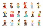 Cute Little Kids Wearing Elegant Adult Oversized Clothes Set, Children Pretending To Be Adults Vecto poster