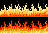 Flat Vector Wall Of Fire Flame Illustration. Two Cartoon Stylized Borders With Fire Flame With Spark poster