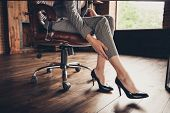 Close-up Cropped Classic Stylish Elegant Business Ladys Legs In poster