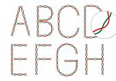 English alphabets made by electric wire. A to H