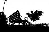 stock photo of city silhouette  - A traditional bench and a tree silhouette - JPG
