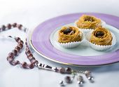 Arabic sweet- kunafa and a islamic rosary