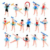 Human Characters With Sport Equipment During Aqua Aerobics Class Set Of Isometric Icons Isolated Vec poster