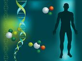 DNA string and silhouette of a man on a green background with molecules
