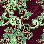 floral seamless background with swirls
