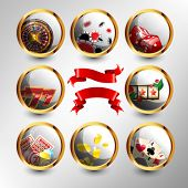Set of casino`s icons with red ribbons