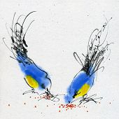 Two small titmouses pecking grain. Calligraphy and watercolor on the textured paper.