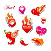 Set of stickers and icons of flaming hearts and hot chili peppers, for themes like love, Valentine's