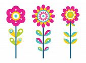 Bright Flowers On Thin Stems Of Colorful Details. Blooming Buds Ornamental Design. Fantastic Wild Pl poster