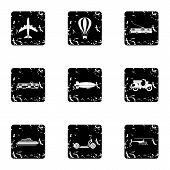 Trip On Transport Icons Set. Grunge Illustration Of 9 Trip On Transport Icons For Web poster