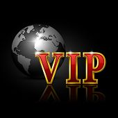 VIP gold letters with globe. Vector illustration.