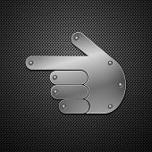 Metallic hand icon. Vector illustration.