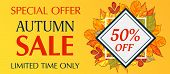 Limited Time Only Autumn Sale Banner Horizontal. Cartoon Illustration Of Vector Limited Time Only Au poster