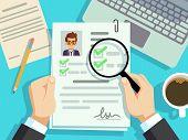 Job Interview Concept. Businessman Cv Resume, Work Evaluation Vector Background. Cv Candidate, Job R poster