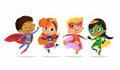 Multiracial Boys And Girls, Wearing Colorful Costumes Of Superheroes, Happy Jump. Cartoon Vector Cha poster