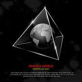 Fragile world. Vector abstract concept.