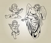 a set of engravings of angels