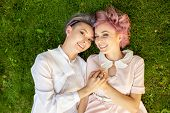 Happy Playful Lesbian Couple In Love Sharing Time Together Women Friendship Concept With Girls Coupl poster