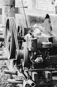 Motor Of A Pile Driver (bate-estaca) Used To Dig The Soil And Make The Foundation To Support The Bui poster