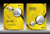 Yellow Cover Template With City Landscape, Annual Report Cover Design, Business Brochure Flyer Templ poster