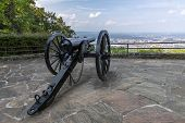 Civil War Cannon - A Cannon At A Scenic Overlook Above A City. poster