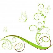 Abstract floral background with butterflies. Element for design.