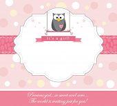 Cute owl baby girl arrival card