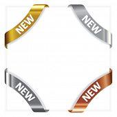 Vector set advertising angular  metallic ribbons