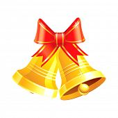 Two vector Christmas bells with a red ribbon. Isolated on white background.