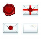 Set raster e-mail, envelop icons with heart wax press.For Valentine Day.