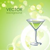Vector green background with alcohol cocktail .