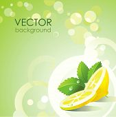stock photo of mojito  - Vector green background with lemon and mint - JPG