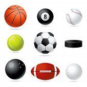 Raster set illustration of sport balls.