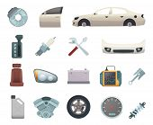 Car Parts. Automobile Creation Kit With Gear Wheels Disc Engine Transmission Steel White Door Brown  poster