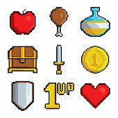Pixel Games Icons. Various Stylized Symbols For Video Games. Video Game 8 Bit Collection Icons, Styl poster