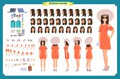 Tourist Female, Vacation Traveller Character Creation Set. Full Length, Views, Emotions, Gestures, T poster