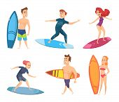Surf Characters. Vector Design Of Summer Mascots. Illustration Of Surfer And Surfing, Surfboard On S poster