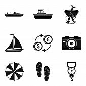 Sea Recreation Icons Set. Simple Set Of 9 Sea Recreation Icons For Web Isolated On White Background poster