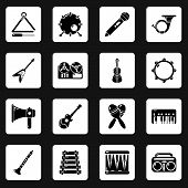 Musical Instruments Icons Set. Simple Illustration Of 16 Musical Instruments Icons For Web poster