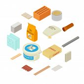 Building Materials Icons Set. Isometric Illustration Of 16 Building Materials Icons For Web poster