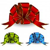 Collection of celebratory bows. Vector.