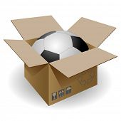 Soccer ball in the mail box. Vector.