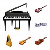 Musical Instrument Cartoon Icons In Set Collection For Design. String And Wind Instrument Isometric  poster