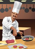 Profession set: chef cook in his kitchen