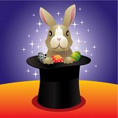 Vector illustration of a bunny in a high hat.