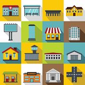 City Infrastructure Items Icons Set. Flat Illustration Of 16 City Infrastructure Items Icons For Web poster