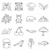 Nature Items Icons Set. Outline Illustration Of 16 Nature Items Icons For Web poster