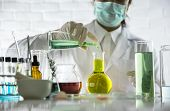 Beauty Background, Scientist Is Sampling A Chemical Extract From Organic Natural, Research And Devel poster