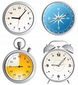 clock, alarm clock, compass and stop watch icons