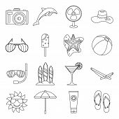 Summer Rest Icons Set. Outline Illustration Of 16 Summer Rest Icons For Web poster